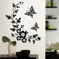 Butterfly Flower Wall Sticker Bathroom Toilet Decal Stickers Home Decor-
