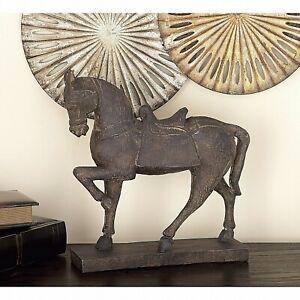 Rustic Trotting Nodding Horse w/Saddle Sculpture Statue Figure Distressed Finish