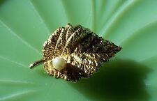"VINTAGE Lovely Gold Leaf Pearl Fx Brooch Pin 1 3/4"""