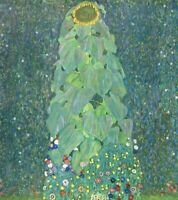 Gustav Klimt Sunflowers Art Print CANVAS Floral Wall Decoration Small 8x10
