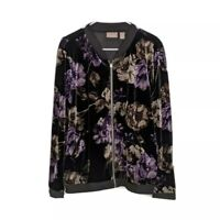 Chico's Velvet Black And Floral Zip Lightweight Jacket Size 2 / Large