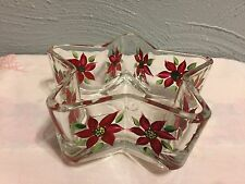 Glass Star Shaped Dish Handpainted With pointsettias