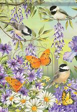 "Chickadee Garden Spring Garden Flag Butterfly Floral Bird Banner 13"" x 18"""