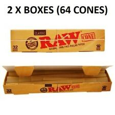RAW CLASSIC KING SIZE CONES, 2 BOXES, (64 CONES) PRE ROLLED ROLLING PAPER WITH T