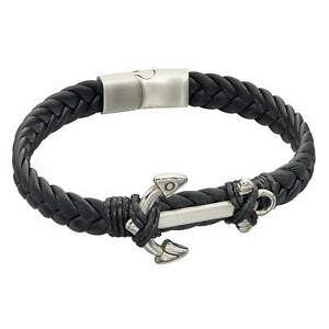 Fredbennett FB Mens Woven Black Leather & Stainless Steel Anchor Magnetic Clasp