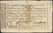 Thirty Shillings Dec 1771 North Carolina Colonial Currency Note # 3416 Bt2766