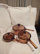 Vision Amber Cookware 1 Pint, 1 QT, & 1.5 QT Saucepans