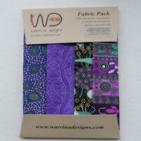 Authentic Aboriginal Arts~Purple Colors Fat Quarter Bundle Of 4 By M & S