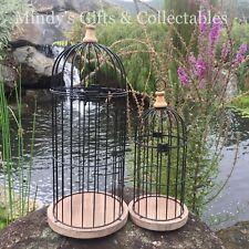 Set of 2 55cm & 43cm Metal Timber Birdcage Bird cage Garden Wedding Wishing Well