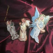 Die Cut Christmas Ornament Victorian Angels Gold Foil Double Sided Vintage Style