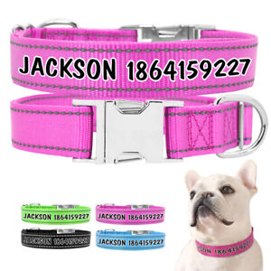 Reflective Nylon Personalized Dog Collar with Print Dog Name and Phone Number