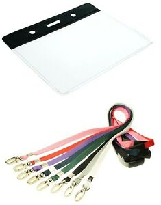 Black Topped Clear Vinyl ID Card Holder with Lobster Clip Breakaway Lanyard