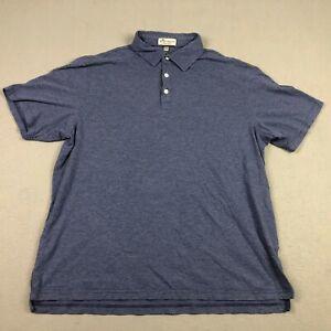 Peter Millar Polo Shirt Mens Large Crown Soft Short Sleeve Blue Striped Golf