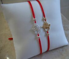 2 Pcs Sterling Silver Hamsa Hand  Evil Eye Red Cord Bracelet