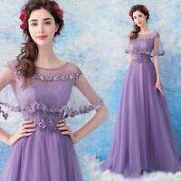 Purple Lace Floral Empire Waist Long Gown Ladies Clubwear Prom Evening Dresses