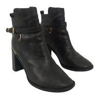 Tory Burch Womens Size 7.5 Kayden Brown Leather Block Heel Boots Bootie