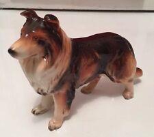"""Vintage Porcelain Collie Figurine Stamped Japan 6""""x4.25"""""""