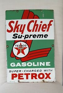 "1959 Texaco Sky Chief Su-preme Petrox porcelain gas pump plate sign 12"" x 18"""