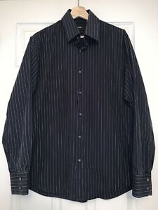 Hugo Boss Mens Size 16 1/2 Black White And Purple Striped Button Up Shirt
