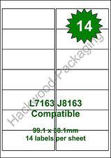 14 Labels per Sheet x 5 Sheets L7163 / J8163 White Matt Copier Inkjet Laser