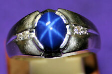 Mans 10KT white gold Blue Lindy Star ring, size 11, solid back, 11.51 grams