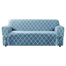 NEW  Sure fit Lattice Woven Loveseat Slipcover, Pacific Blue