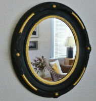 Antique Art Nouveau OVAL GESSO WOOD MIRROR Black & Gilt 14x12.25 ORIGINAL 1880's