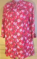 Tu Uk14 Womens Shirt Dress Red Floral Summer Casual Loose Fit Buttons Side Split