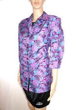 Womens Vtg Purple Print Formal Tailored 3/4 Sleeve Long Blazer Jacket sz L AF62