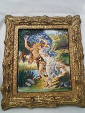 VINTAGE SCULPTURED ARTINI ENGRAVING FRAMED ART Young Lovers Romantic Handpainted
