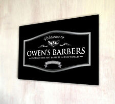 Personalised with your name Welcome Barber Shop silver label a4 metal sign