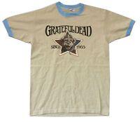 Grateful Dead Olde Time Football Bear Est 1965 Khaki Ringer T Shirt New Official