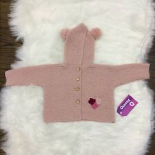 Handknit Baby Sweater Jacket with Hood 4-6 months Pink