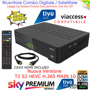 Decoder Combo Tivusat HD Satellitare Tv Sat e Digitale Terrestre Dvb-T2 Hevc 265