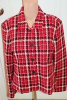 Villager Petites Liz Claiborne Women's Red Black White Plaid Jacket Size 12P