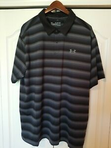 New Under Armour HeatGear Mens XL Golf/Polo Shirt-Black Gray Strp-Jordan Spieth