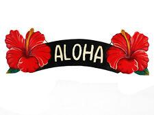 "Aloha Tropical Hibiscus Flower Island Sign Wood Hand Made 20"" x 6"""