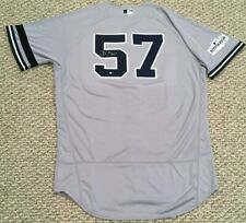 GREEN #57 size 46 2017 Yankees Game Jersey ROAD BLACK BAND POST STEINER MLB HOLO