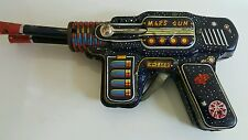 VINTAGE SPACE MARS GUN JAPAN DOUBLE BARREL TIN TOY S H FRICTION COSMONAUT PISTOL