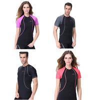Men Women UV Protect Scuba Short Sleeves Diving Wetsuit Rash Vest Rashguard Tops