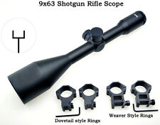 Free ship 9x63 Shockproof Shotgun Rifle Scope W/2 Kinds of  Mounts