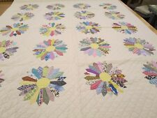 Dresden Plate Patchwork Hand Quilted 85.5 In x 74.5 In Vintage? Never Used