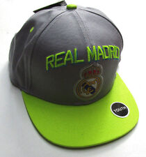 Kids Real Madrid Fun Hat, New Gray Limon Adjustable Merengues Soccer Official