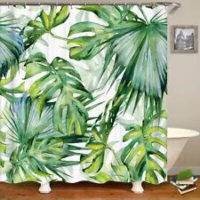 Shower Curtains Green tropical leaves waterproof 12 Hooks 71*71inc