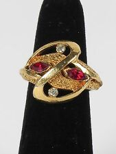 Red stone ring gold tone costume clear signed Vogue size 5.75 vtg