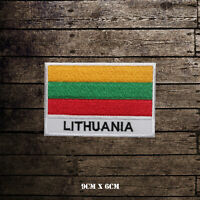 Lithuania National Flag With Name Embroidered Iron On Sew On Patch Badge