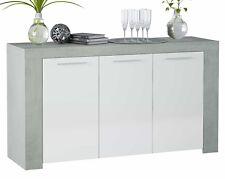 Aparador 3 puertas salón comedor color blanco y cemento moderno 144x42x80 cm