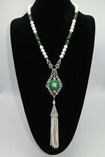 Haute Couture Jewelry, Freshwater Pearl and Jade Necklace W Pendants