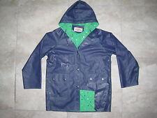 Vintage 80s Items International MEDIUM Blue Heavy Duty Rain Coat Jacket USED