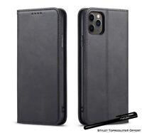 Etui portefeuille noir pour iPhone 11Pro 11 11ProMax Housse fermeture magnétique